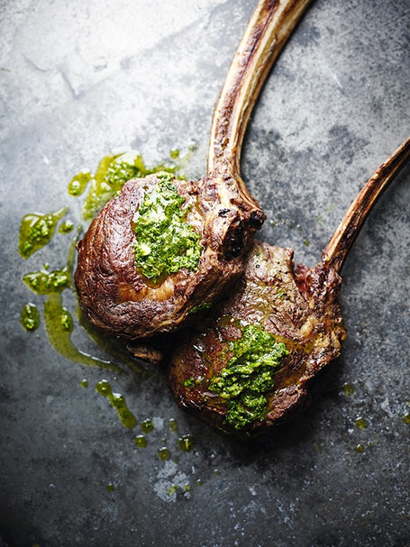 Tomahawk with salsa verde. Waitrose & Partners Food Made to Order Art Directed by Naomi Lowe