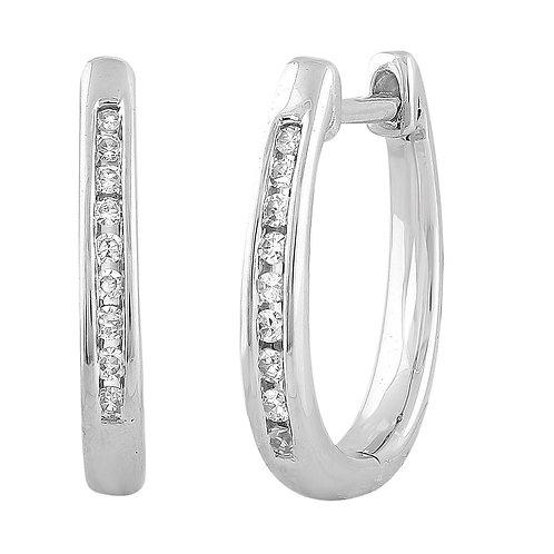 IGE-14467 - 9ct White Gold Diamond Huggie Earrings