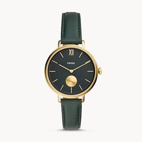 Fossil ES4662 Kayla Three-Hand Dark Green Leather Watch