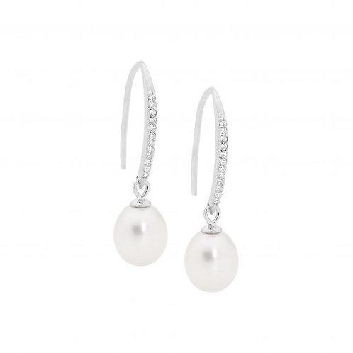 Ellani E514S Freshwater Pearl CZ Stud Earring Silver