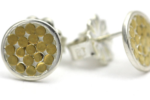 Indiri E840G KALA Round Stud Earrings Silver/Yellow