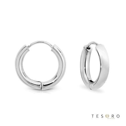 9ct White Gold Round 2.5mm Tube Huggie Earring 10mm Diameter