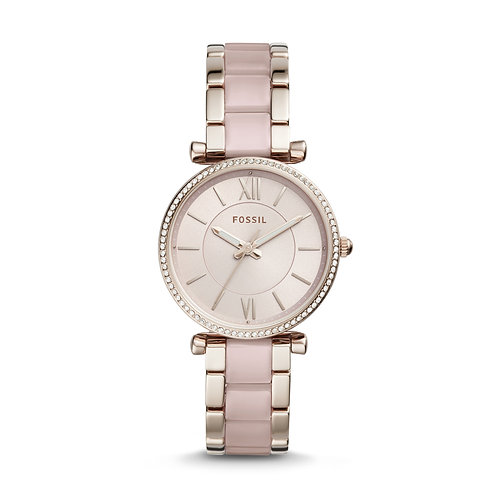 Fossil ES4346 Carlie Three-Hand Two-Tone Acetate and Stainless Steel Watch