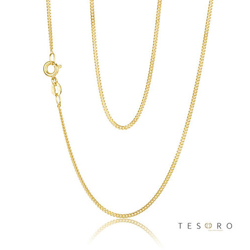9ct Yellow Gold 'Grumetta' 2 sided 1.2mm Curb Link Chain 45cm
