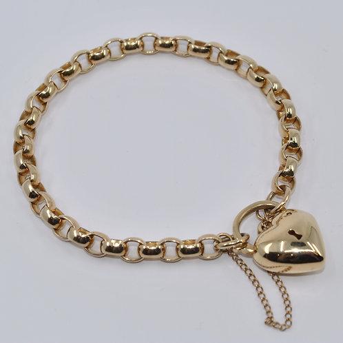 J005Y 9ct Yellow Gold Solid Oval Belcher Padlock Bracelet