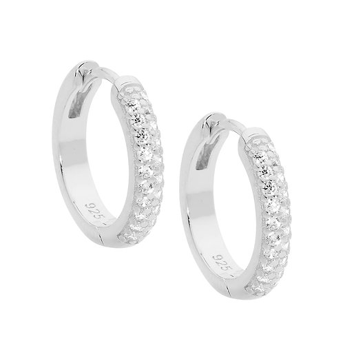 Ellani E499S Pave Set CZ Huggie Earrings Silver