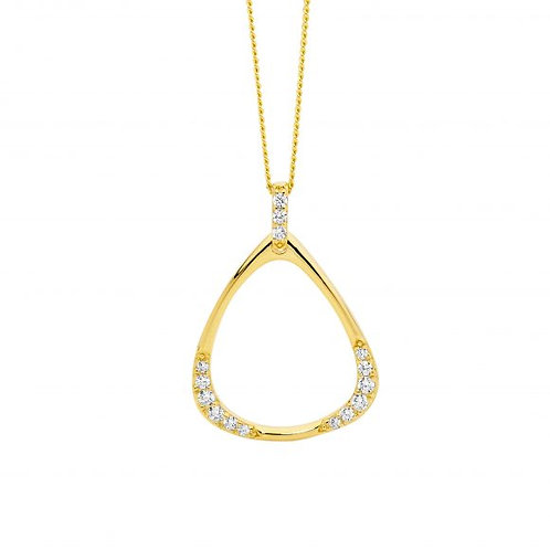 Ellani P847G Open Triangle Drop Pendant Yellow