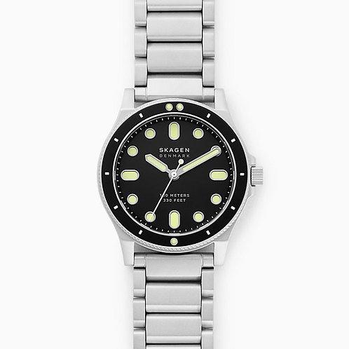 Skagen SKW6666 Fisk Three-Hand Silver-Tone Stainless Steel Watch