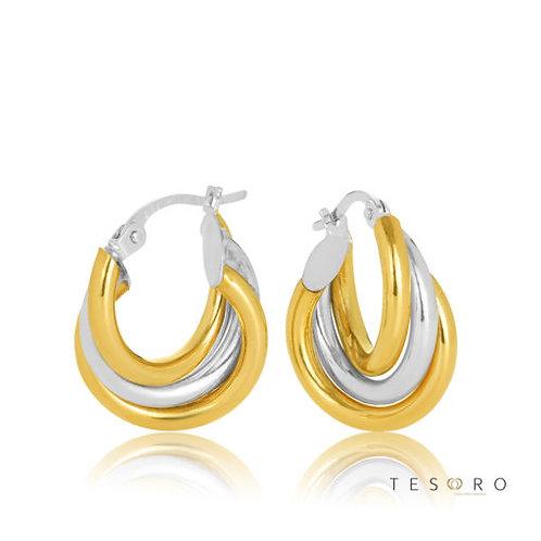 9ct Yellow-White Gold 'Ariano' Triple Tube Hoop Earring