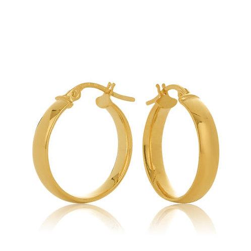 9ct Yellow Gold Half Round 3.7mm Tube Hoop Earring 15mm Diameter