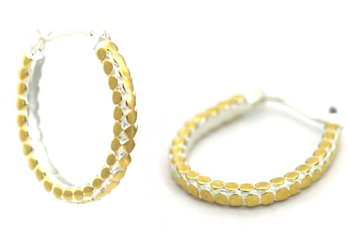Indiri E839G SOHO Horseshoe Hoop Earrings Silver/Yellow