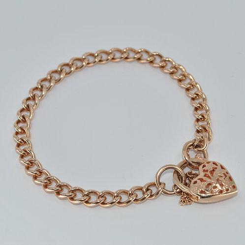 J002R 9ct Rose Gold Solid Curb Padlock Bracelet