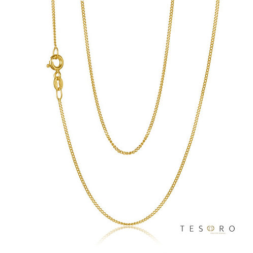 9ct Yellow Gold 'Grumetta' 2 sided 1mm Curb Link Chain 50cm