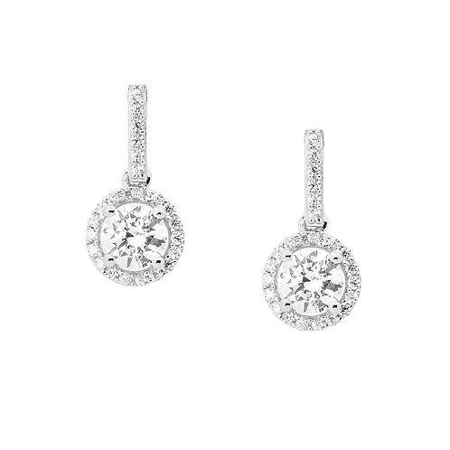 Ellani E421W CZ Drop Earrings Silver