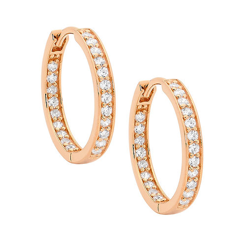Ellani E312R Grain Set CZ Hoops Rose