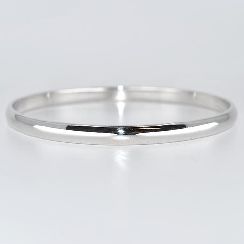 J024W 9ct White Gold Half-Round Solid Bangle