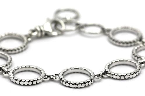 Indiri B515 SOHO Sterling Silver Circle Station Bracelet