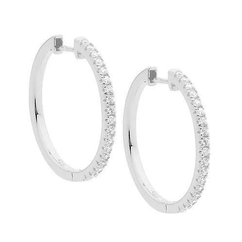 Ellani E519S Claw Set CZ Huggie Earrings Silver