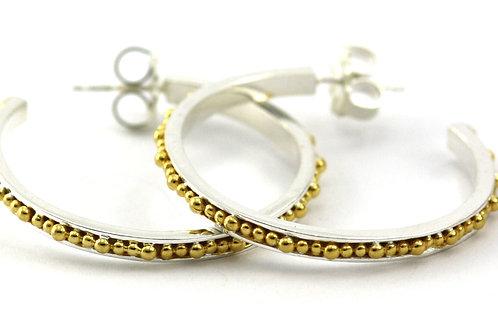 Indiri E300MG INDA Thin Bead Hoop Earrings Silver/Yellow