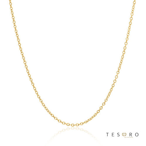 9ct Yellow Gold 'Caserta' 1.2mm Trace Link Adjustable Chain 50cm