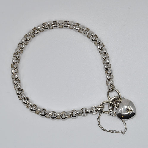 J010W 9ct White Gold Solid Belcher Padlock Bracelet