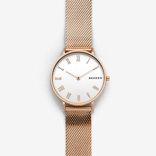 Skagen SKW2714 Hald Rose-Tone Silk-Mesh Watch