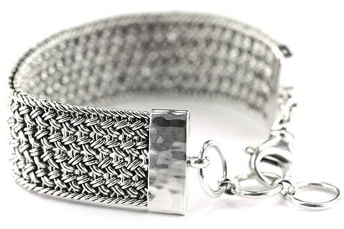 Indiri B507 DASA Sterling Silver Wide Woven Link Bracelet