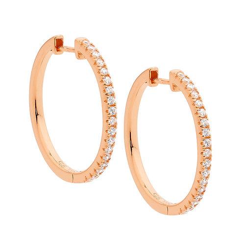 Ellani E519R Claw Set CZ Huggie Earrings Rose
