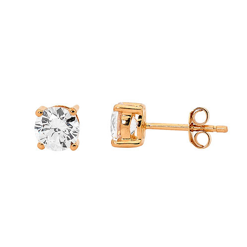 Ellani E130R-5 Round Claw Set CZ Studs 5mm Rose