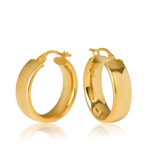 9ct Yellow Gold 'Parini' 5.8mm Width, 15mm Diameter Hoop Earring