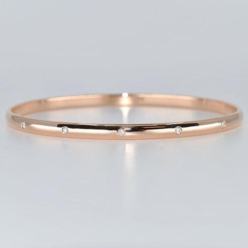 J016R 9ct Rose Gold Solid Diamond Bangle