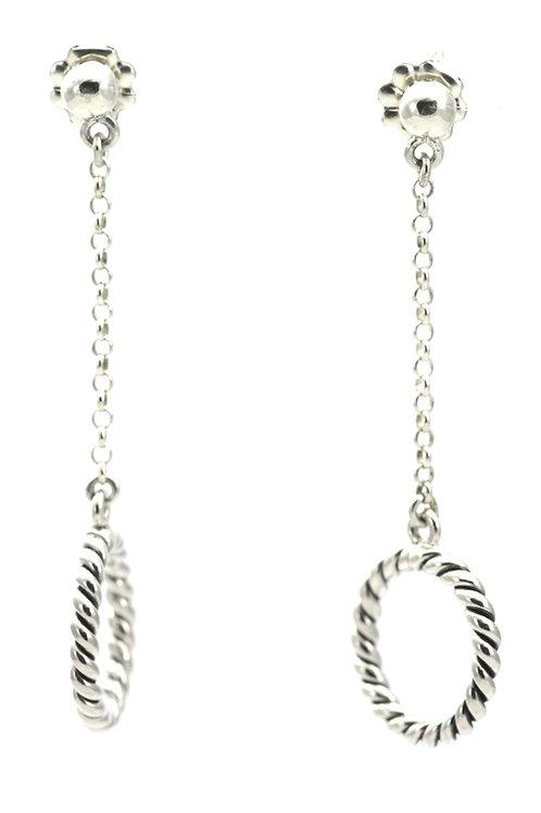 Indiri E302 SURA Twisted Circle Post Drop Earrings