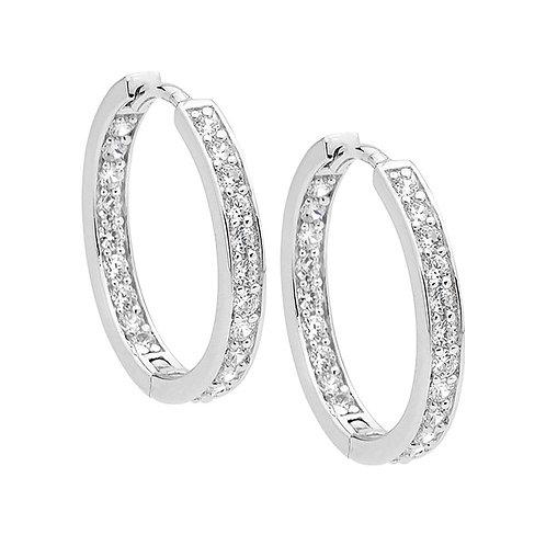 Ellani E312S Claw Set CZ Huggie Earrings Silver