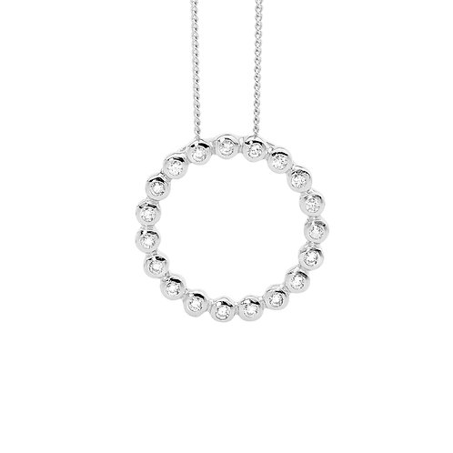 Ellani P807S Round Open Bezel Set Pendant Silver