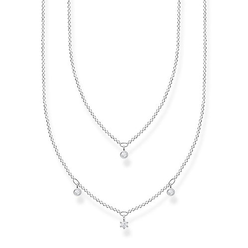 Thomas Sabo KE2078 Sterling Silver Double Layer Necklace with Cubic Zirconia