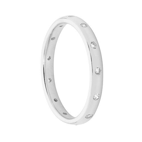 Ellani R483S Amercian set CZ Ring Silver