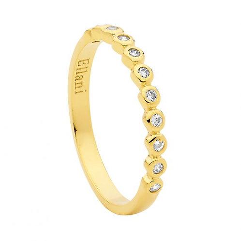 Ellani R502G Bezel set CZ Ring Yellow