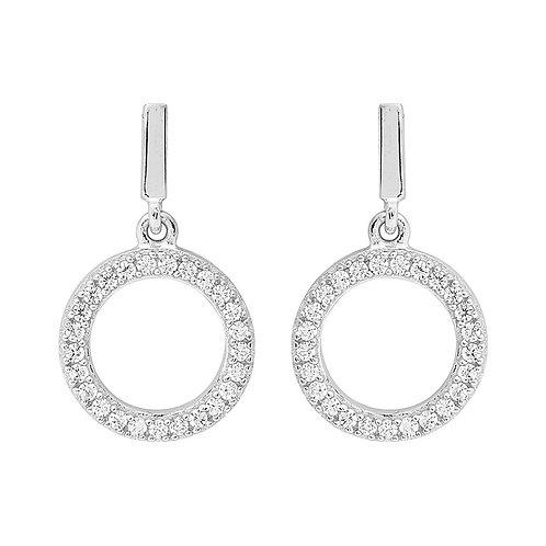 Ellani E470S CZ Drop Earrings Silver