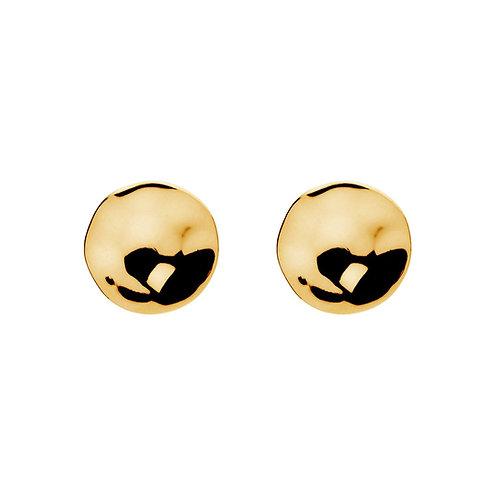 Najo E5569 Double Beat Yellow Gold Stud Earring