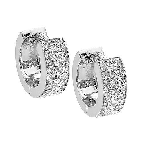Ellani E182S Pave Set CZ Huggie Earrings Silver