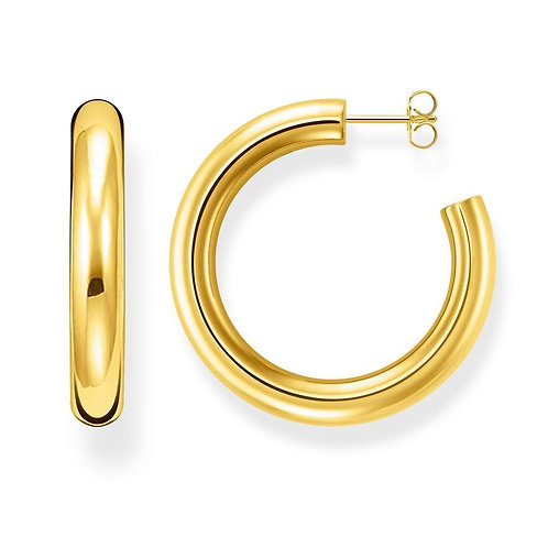 """Thomas Sabo TCR637Y Yellow Tone Hoop Earrings """"Classic Large"""""""