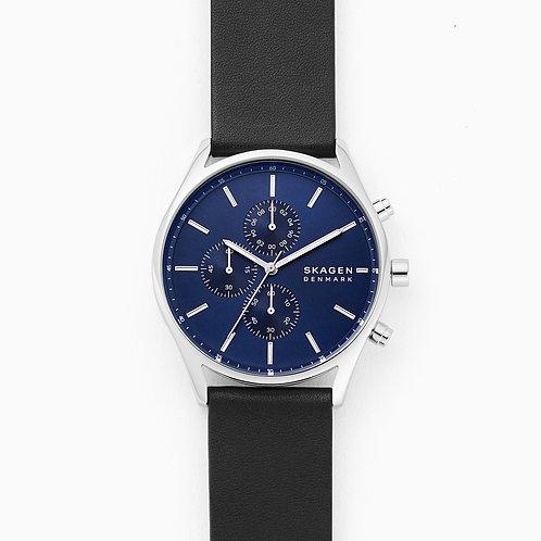 Skagen SKW6606 Holst Chronograph Black Leather Watch