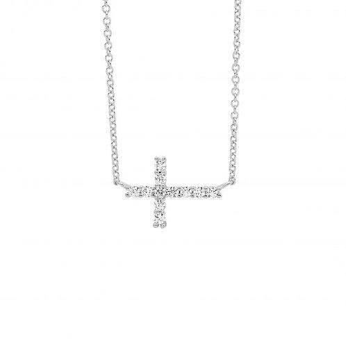 Ellani P848S Small CZ set Cross Pendant on Chain Silver
