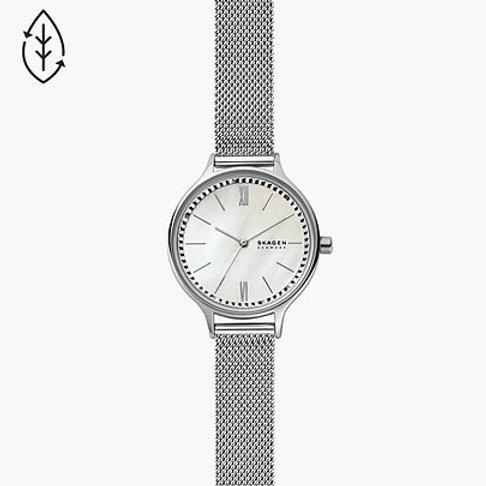Skagen SKW2966 Anita Three Hand Silver-Tone Steel-Mesh Watch