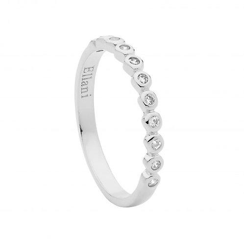 Ellani R502S Bezel set CZ Ring Silver