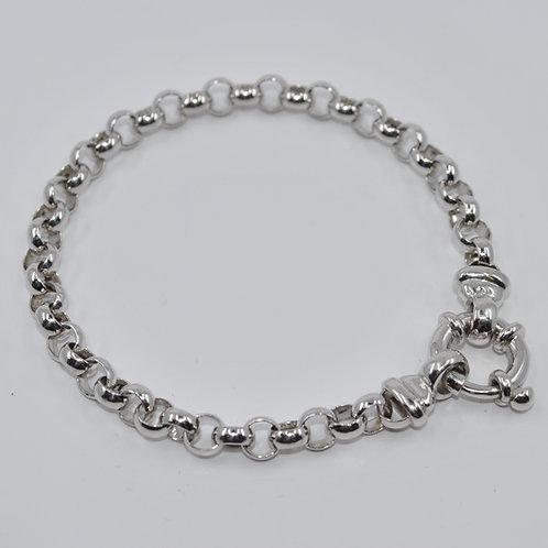 J008W 9ct White Gold Solid Belcher Bracelet