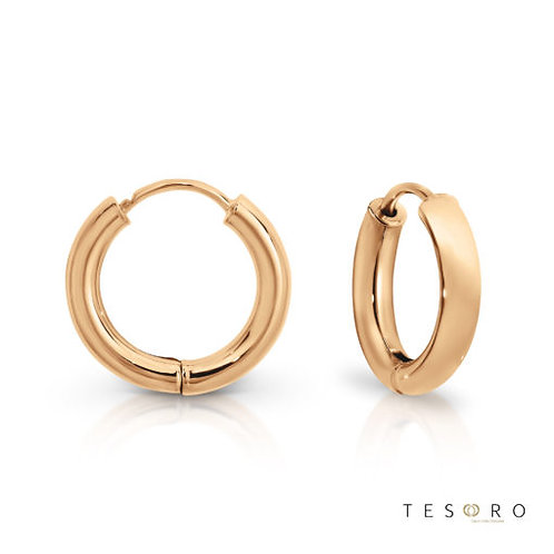 9ct Rose Gold Round 2.5mm Tube Huggie Earring 10mm Diameter