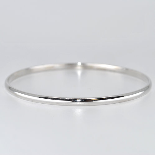 J023W 9ct White Gold Half-Round Solid Bangle