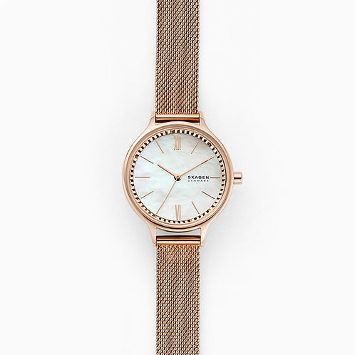 Skagen SKW2865 Anita Three-Hand Rose-Tone Steel-Mesh Watch