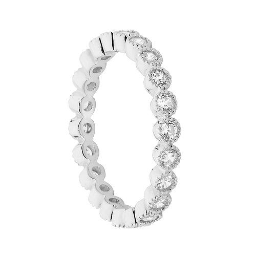 Ellani R482S Bezel set CZ Ring Silver